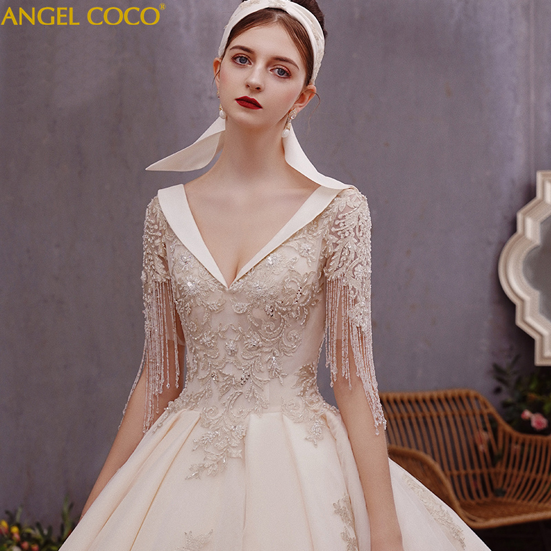 Roman Wedding Gowns: Romantic Champagne Crystal Tassels Celebrity Long Train