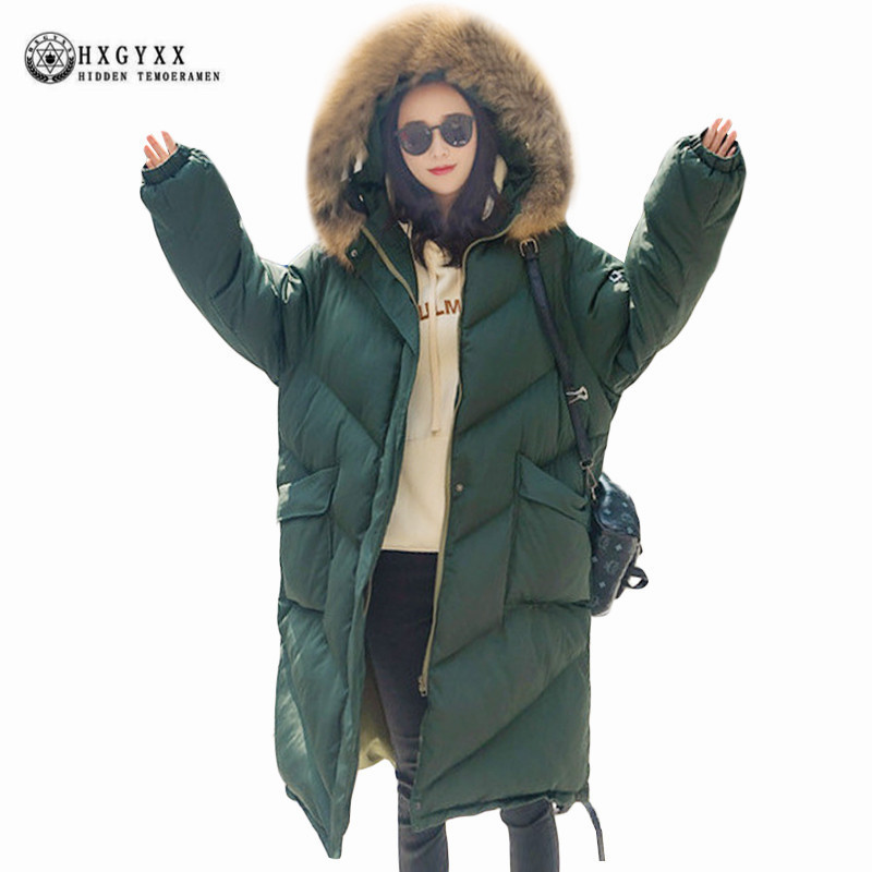 Women Large Fur Collar Hooded Long Jacket Thicken Warm Korean Padded Parkas 2017 Oversized Military Parka Winter Coat Okb365 winter jacket female parkas hooded fur collar long down cotton jacket thicken warm cotton padded women coat plus size 3xl k450