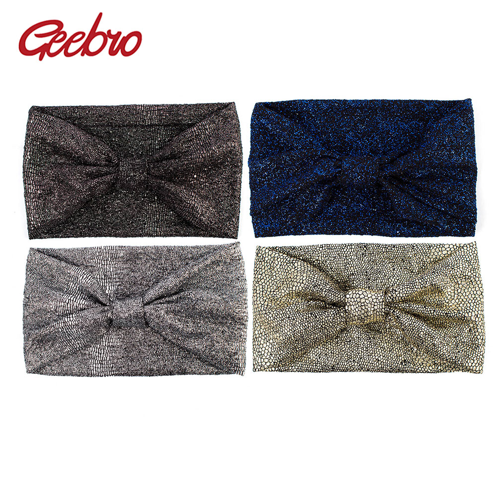 Geebro Women's Headband Turban Fashion Metallic Color Scale Wide Headbands for Woman Knotted Turbante Knitted Headwrap For Girls