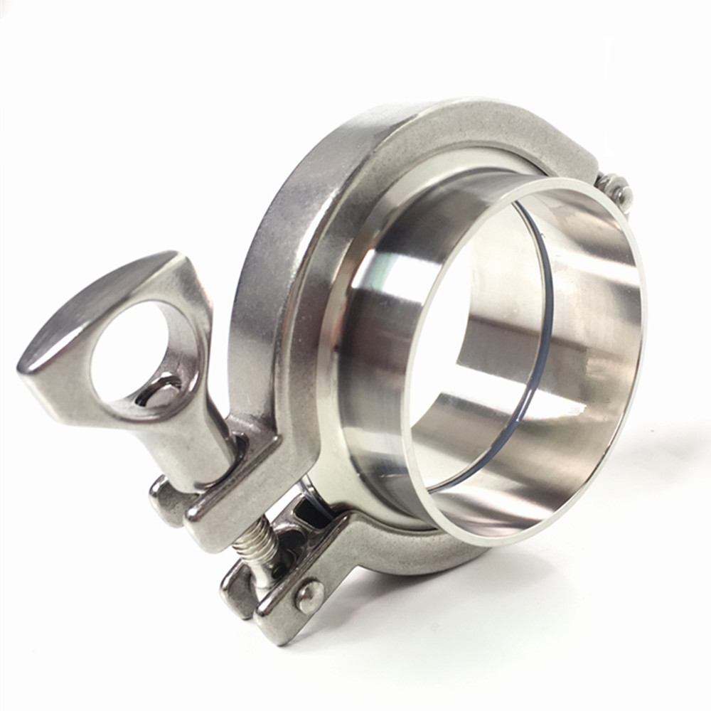 A Set 38 51 63 76 89 102 Pipe O/D Sanitary Tri Clamp Weld Ferrule + Tri Clamp + Silicon Gasket 304 Stainless Steel For Homebrew