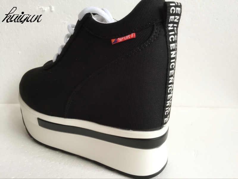 2019 kadın moda rahat ayakkabılar kadın ayakkabısı Artırır kadın ayakkabısı Ağ Hava Kama Uçak Ayakkabı Siyah Platformu