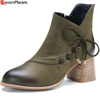 MoonMeek 2018 Autumn Winter Women Boots Round Toe Ladies Genuine Leather Boots Zipper Cross Tied Cow