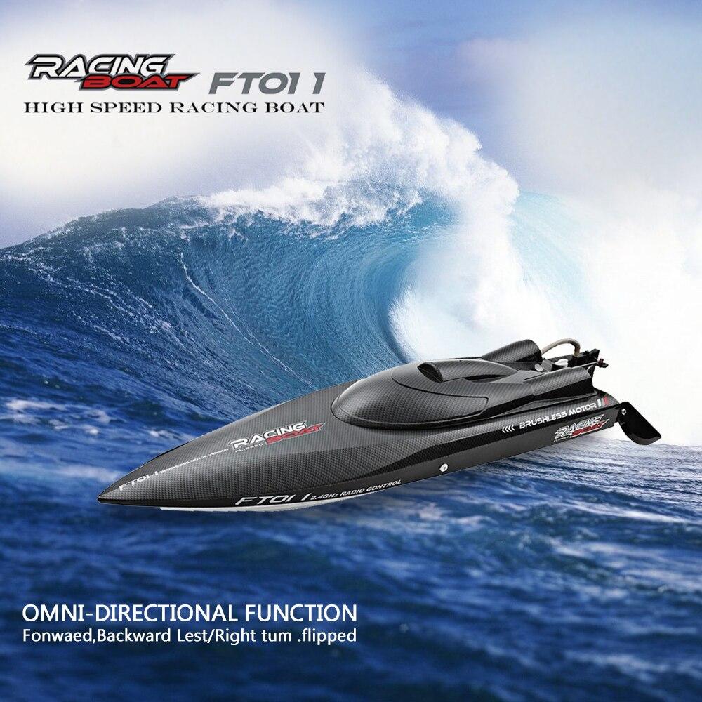 Fei Lun FT011 2,4 г гоночная лодка RC 55 км/ч Высокое скорость бесщеточный двигатель воды системы охлаждения 4 Каналы лодка Рождественский подарок
