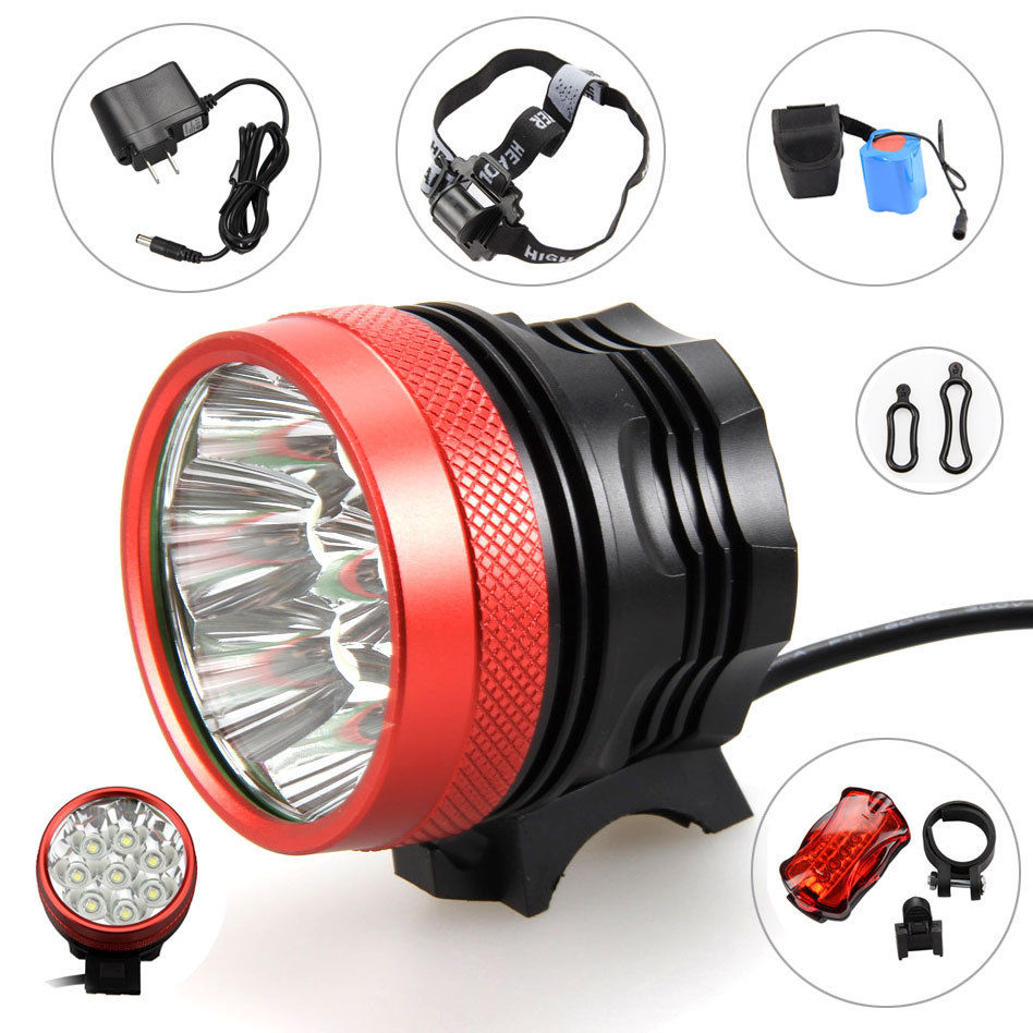 Real 10000LM 8x XM-L T6 Front LED Bicycle Bike Light Rechargeable Headlamp+Rear Light+20000mAh Battery Pack+AC Charger 24000 lumen cycling helmet bike light 14x cree xm l t6 led bicycle headlight headlamp 18650 10000mah battery pack charger