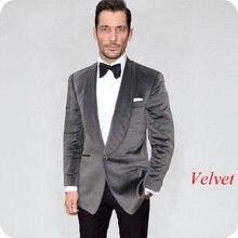 Latest Designs Smoking Jacket Grey Velvet Men Suits Wedding Suit Groom Tuxedo 2Piece Slim Man Blazers Prom Party Terno Masculino