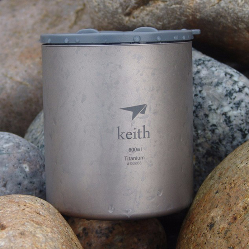 Keith 600ml Titanium Cup Double-wall Mug With Lid Water Glass Anti-acid Drinkware Camp Picnic Hiking Mugs 182g Ti3306 keith double wall titanium beer mugs insulation drinkware outdoor camping coffee cups ultralight travel mug 320ml 98g ti9221