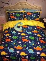 Blue colorful Dinosaur 4Pcs 100% Cotton Queen size Lovely Cartoon Bedding set Animal Duvet Cover Set Bed sheet Pillowcase fish
