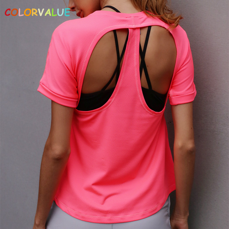 Colorvalue Quick Dry Mesh Fitness T-shirt Women Breathable Loose Solid Sport Tops Back Hollow Out Yoga Gym Shirt Short Sleeve lace patchwork hollow out shirt