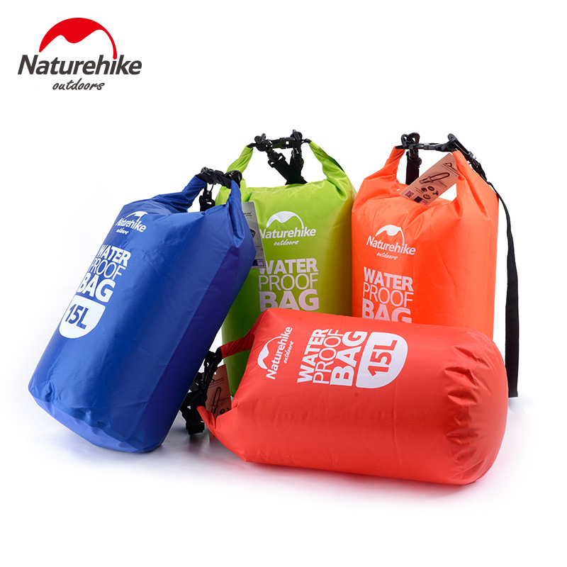 NatureHike 15L Waterproof Dry Bag Pouch Camping Boating Kayaking Rafting Canoeing Red Blue Green Orange NH15S002-D 8l nylon portable waterproof dry bag pouch for boating kayaking fishing rafting swimming camping rafting surfing snowboarding