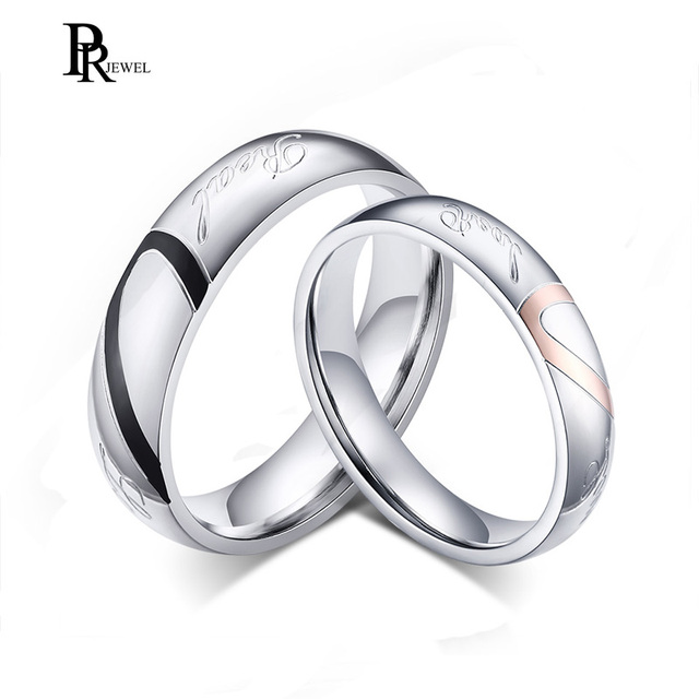 His And Her Stainless Steel Heart Shape Matching Set Real Love S Wedding Band