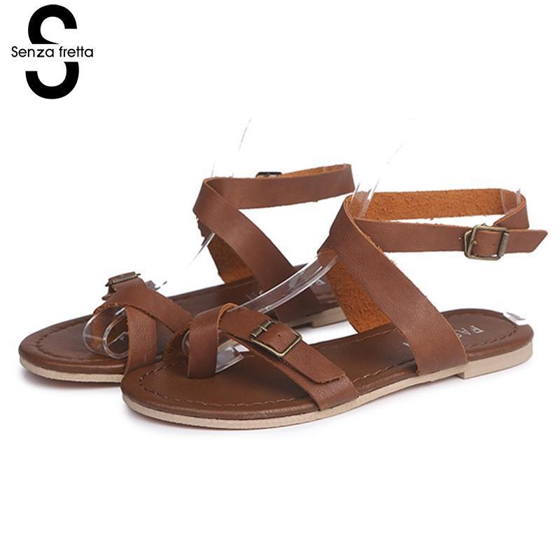 Senza Fretta Summer Women Sandals Casual Lady Bohemia Sandals Slippers Outdoor Flats Sandals Women Summer Beach Sandals Oversize lady sandals vietnam shoes leather sandals female sandals 2017 outdoor lovers casual summer sandals