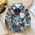 2016 nova primavera Impresso longo-manga 100% camisa de algodão crianças moda gravata borboleta Inglaterra stly 1-4 ano bebê meninos camisa longa