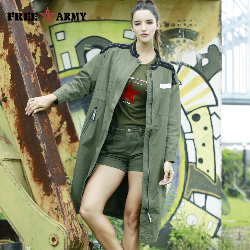 FreeArmy Oversized Winter Coat for Women   Trench   Coat Elegant Womens Coats Army Green Windbreakers For Woman Spring Autumn   Trench