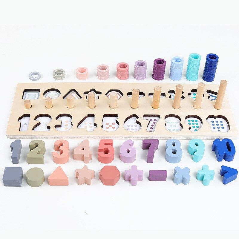 Jouets Montessori en bois préscolaire comptent forme géométrique Cognition Match bébé éducation précoce enseignement jouets mathématiques pour enfants