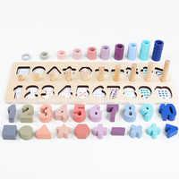 Préscolaire en bois Montessori jouets compter forme géométrique Cognition Match bébé éducation précoce aides pédagogiques jouets mathématiques pour les enfants