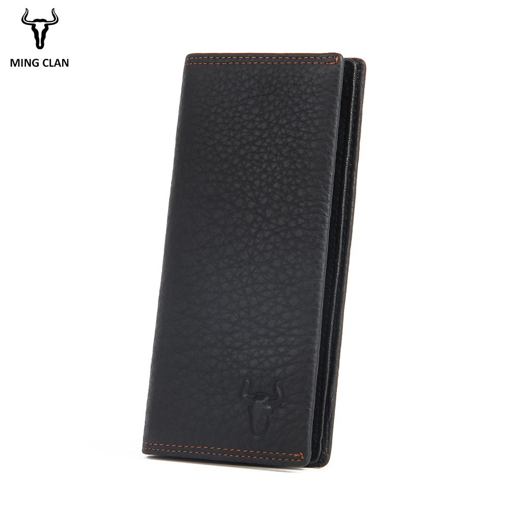Men Purse Long Clutch Wallets Genuine Leather Women Slim Travel Purse Wallet Card Holders Slim Fashion Zipper Pocket Money Bag