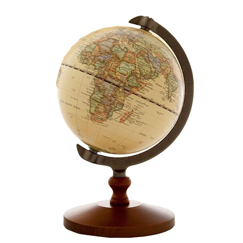 5 Vintage Rotating Globe Display Domestic Store Desk Counter Decoration Wood Globe Jewelry Source World Map Display antiskid flannel vintage wood grain map rug