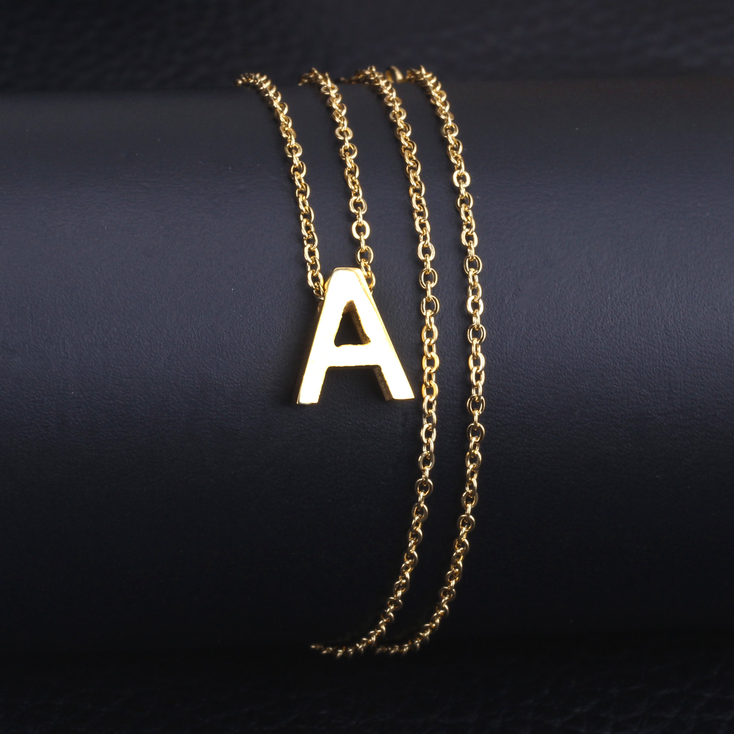 custom letter stencil gold initial product clay minimalist necklace metal bronze pendant modern