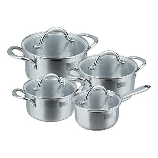Набор посуды Rondell RDS-744 (3 Кастрюли с крышками (18см/1.8л, 20см/2.7л, 24см/4.8л) и ковш с крышкой (16см/1.2л), мерная шкала, отверстия для выхода пара, подходит для посудомоеч. машины и духовки)
