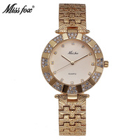 Miss Fox Brand Women Dress Watch Fashion Luxury Quartz Gold Watch Rhinestone Water Resistant Clocks Best