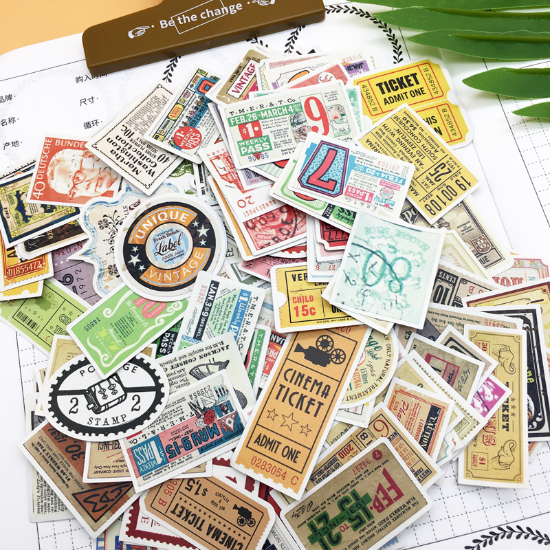 160pcs Cute Western Antique bill ticket sticker Diary  books decoration adhesive stickers/ self made DIY Stamp