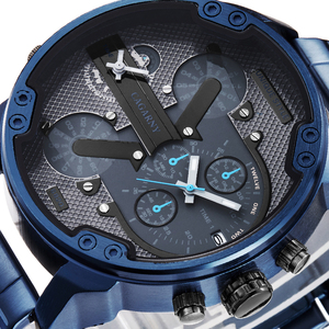 Image 4 - Cagarny 6820 Classic Design Quartz Watch Men Fashion Mens Wrist Watches Blue Stainless Steel Dual Times Relogio Masculino xfcs