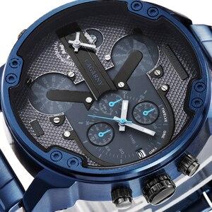 Image 4 - Cagarny 6820 klasik tasarım Quartz saat erkekler moda erkek bilek saatler mavi paslanmaz çelik çift kez Relogio Masculino xfcs