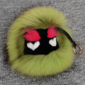 Genuine fur key chain round fluffy animal charm handbag pendant car interior ornaments neutral high-grade gifts