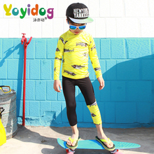 2019 New Model Boys Rash Guards 1-10 T one piece Swimsuit Boy Fish print Swimwear Children Swimming wear Swim Suit Bathing Suits