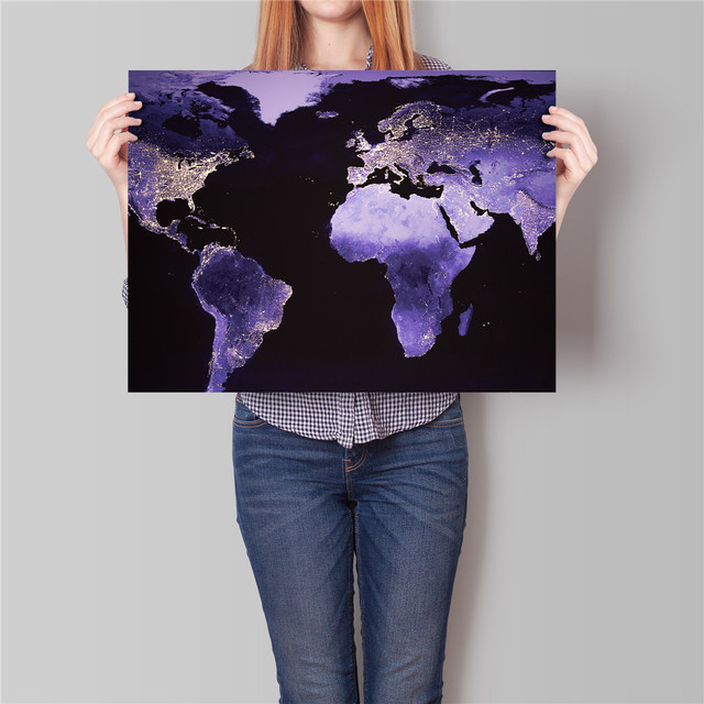 Vintage poster world map night earth home decoration painting bar vintage poster world map night earth home decoration painting bar cafe living room bedroom restaurant wall gumiabroncs Images