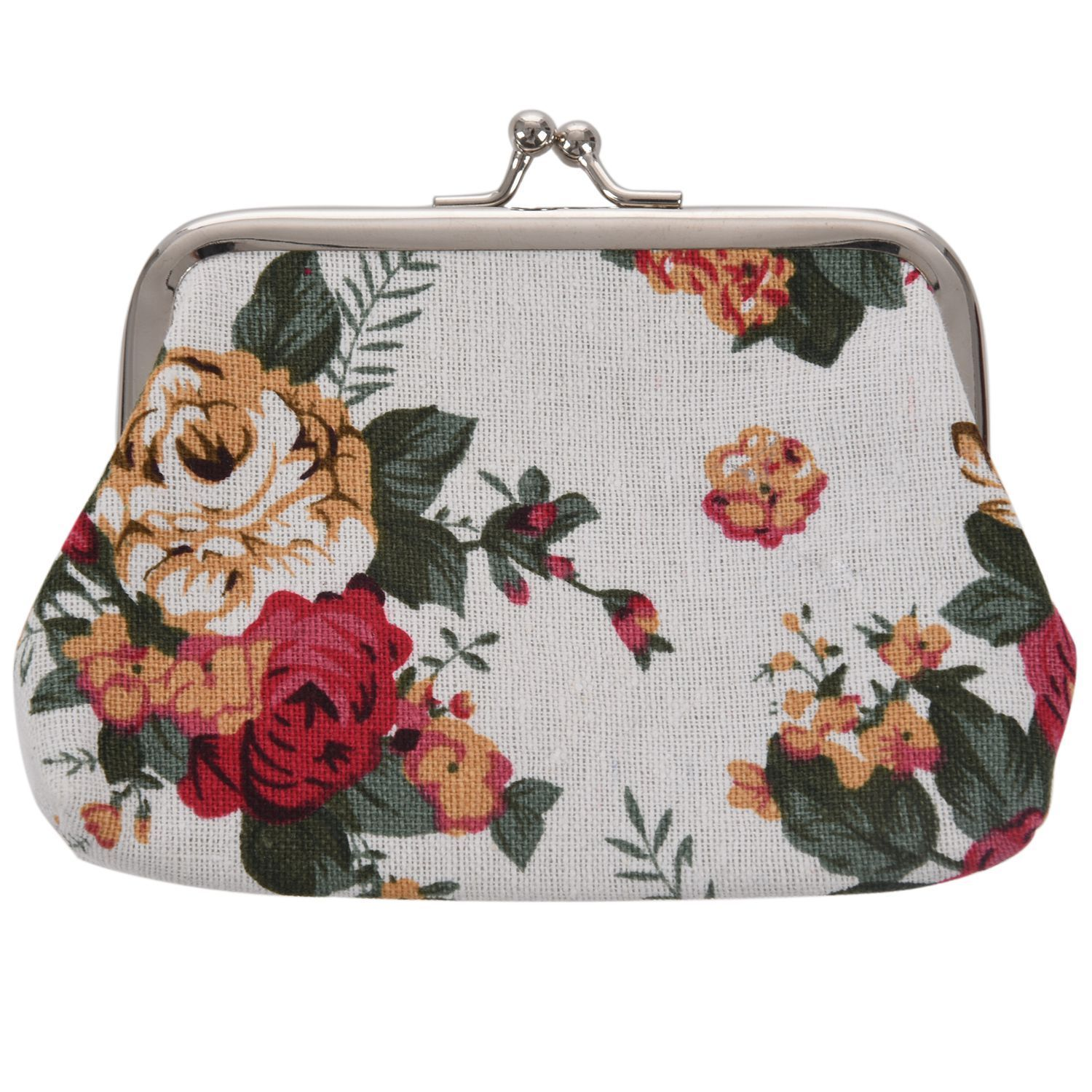 FGGS-Latest Women Girl Retro Rose Flowers Printed Hasp Canvas Coin Purse Wallets Buckle Pouch Mini Bag Gift Super Hero