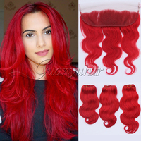 Guanyuhair Dark Red Remy Hair 3 Bundles With 13x4 Lace Frontal Closure Ear to Ear Brazilian Body Wave Virgin Human Hair Weave