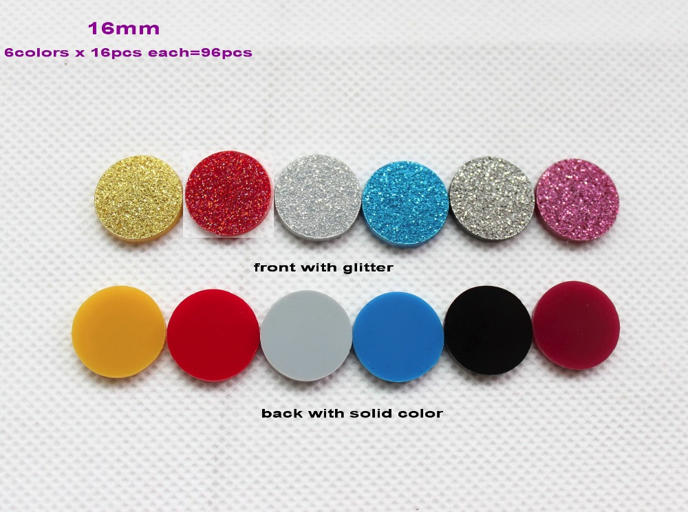 6colors 96pcs lot 16mm assorted giltter colors discs acrylic stud earring circle earrings bulk. Black Bedroom Furniture Sets. Home Design Ideas