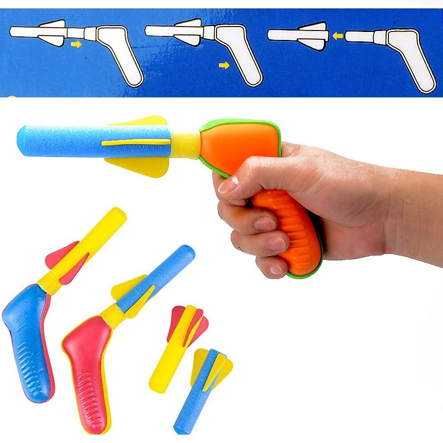 Soft And Safe Air Soft Foam Dart Shooters Pop Shotz Air-Powered Outdoor Sport  Rocket Pressure Toy Gun With 2 Foam Parts For Kid