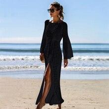 2019 Sexy White Crochet Bikini Covers-Up Beach Coat Swimsuit Cover-Ups Lace Beachwear Knitted Bikini Cover-up Long Beach Dress