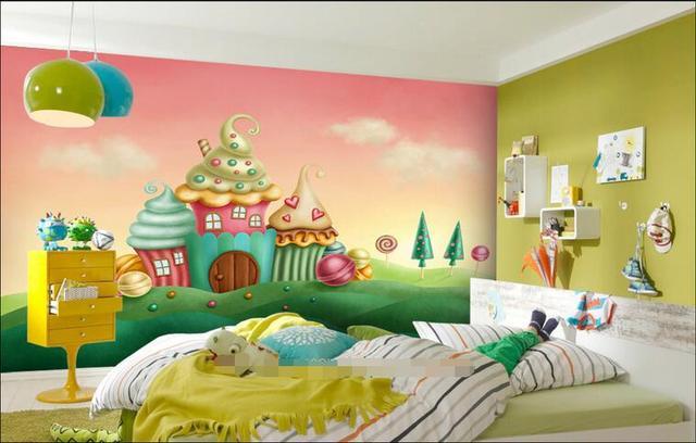 Room Wallpaper Custom Mural Non Woven Picture Dream Ice Cream Castle Children Painting Photo Wall Murals