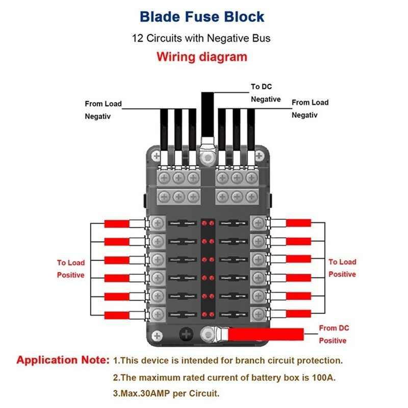 dc 12v-32v 12 way 24 fuses box circuit standard blade block holder car  boat