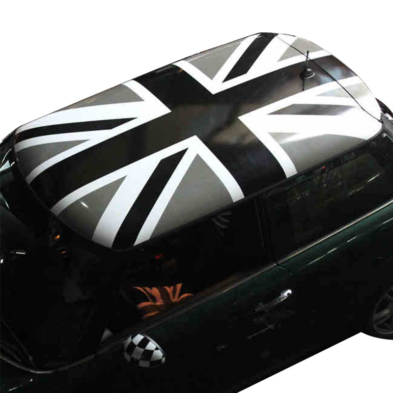 Gray Union Jack KK Vinyl Car Full Roof Decals Sunroof Sticker Auto Protection Film Decoration for MINI Cooper R56 Car Styling