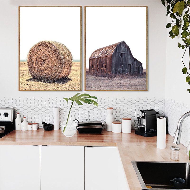 Us 297 50 Offrustic Farmhouse Wall Art Modern Minimalist Canvas Painting Yellow Posters And Prints Pictures For Living Room Bedroom Decor In