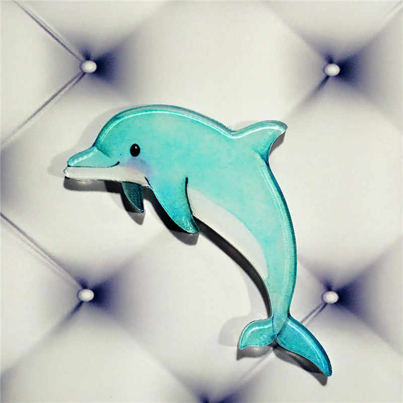 1 Pcs Kartun Ikon Hewan Lucu Dolphin Dinosaurus Acrylic Bros Pin Lencana Ransel Pakaian Dekorasi Bros untuk Wanita Hadiah
