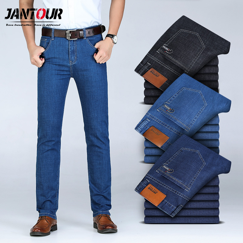 2019 new Men's Spring summer cotton   Jeans   male Stretch Business Pants Fashion Classical trousers Denim   Jean   Men Slim Male   Jeans