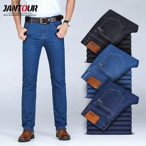 Image 1 - 2020 calças de brim de algodão do inverno dos homens do outono calças de brim do estiramento calças de negócios da forma denim jean jeans dos homens tamanho grande 35 40 42 44 46