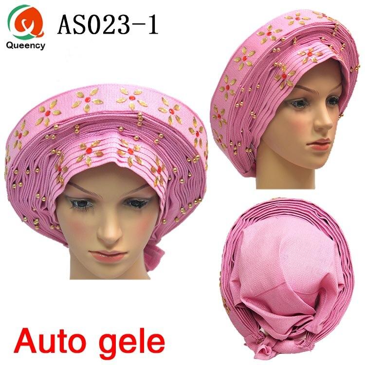Africain Auto Gele Headtie déjà fait tête Wrap dames chapeau avec des pierres fleurs 1 PC/DHL livraison gratuite AS023-in Tissu from Maison & Animalerie    1