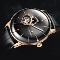 2018 Риф Тигр мужская одежда часы лучший бренд класса люкс автоматические часы ремень из натуральной кожи розового золота аналоговые часы