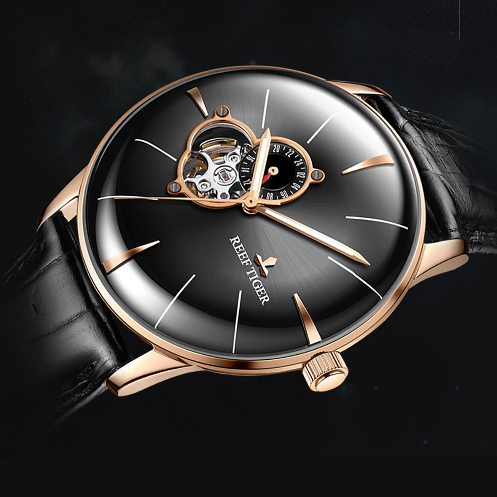 2018 Reef Tiger Mens Dress Watch Top Brand Luxury Automatic Watch Genuine Leather Strap Rose Gold