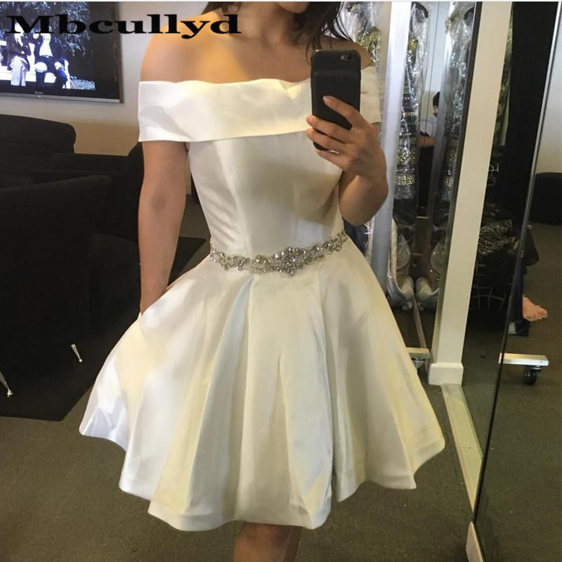 Mbcullyd Sexy Short White   Cocktail     Dresses   2019 Bling Crystal Knee Length Prom   Dresses   Party For Women Customize robe   cocktail