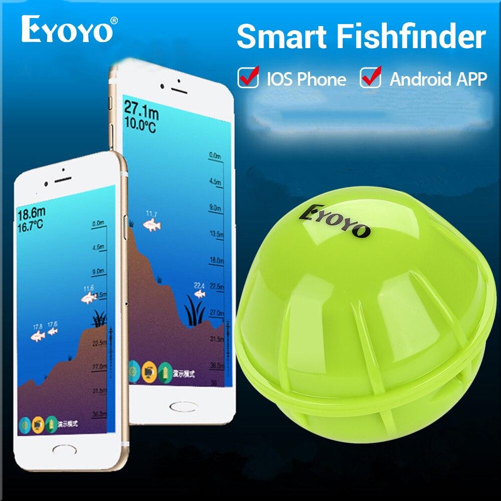 Eyoyo intelligent Bluetooth détecteur de poisson Portable Sonar sans fil sondeur pour quai rivage bateau pêche sur glace pour téléphones iOS et Android