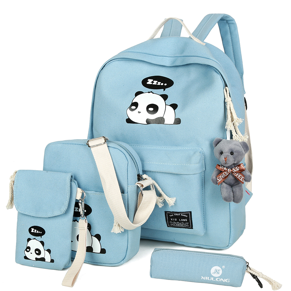 2017 New Fashion Canvas Backpack Schoolbags School For Girl Teenagers Panda Casual Children Travel Bags Rucksack Cute Printing цены онлайн