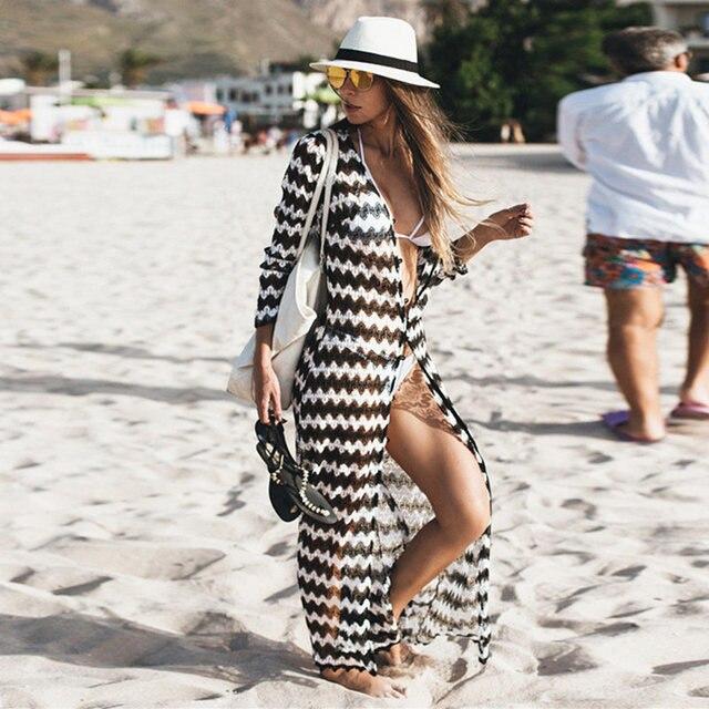 b6bf6e3d05241 Women Wave Stripe Beach Dress Tunic 2019 Lace Crochet Bikini Cover Up Long  Kaftan Sexy Summer