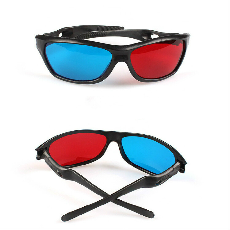 ZUCZUG new  Black Frame Universal 3D Plastic glasses/Oculos/Red Blue Cyan 3D glass Anaglyph 3D Movie Game DVD vision/cinema 3